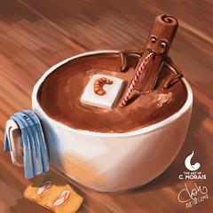 'Relaxing bath' in Oilpaint (Cleon Morais) Tags: digitalart digitalpainting artwork fantasy cinnamon croissant sugar cappuccino bath warm warmcolors relaxing