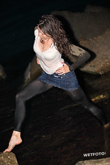 #260 Wetlook with Dancing Girl in Wet Jeans Skirt and Leggings. Dancing girl in jeans skirt and leggings in get wet fully clothed in sea. (WetFoto.com) Tags: sea woman sexy wet water girl beautiful smile swimming swim photo model wasser adult free tshirt skirt jeans soak online getwet brunette splash baden havefun dripping wethair leggings soaked nass wetlook madchen fullyclothed wetclothes wetgirl wetfoto
