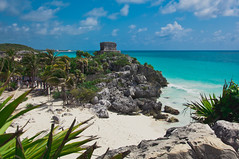 Ancient Ruins of Tulum and Carribbean Sea, Mexico (terbeck) Tags: sea beach strand mexico ruins meer maya tulum ruine palme carribbean mexiko karibik terbeck