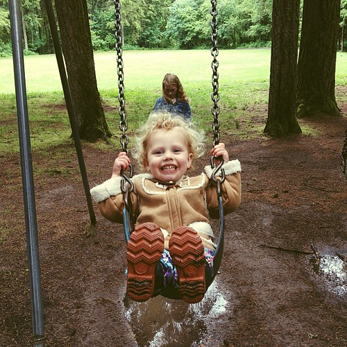 Swinging in the rain.  #lewisvillepark #washington #pacificnw #afterlight
