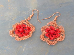 Red and copper lace flowers (cindycreativecrochet) Tags: red flower wire handmade lace unique oneofakind crochet jewelry canadian copper earrings saskatchewan cindyscreativecrochet