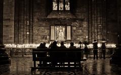 Reverence (MecCanon [DatAperture]) Tags: milan sepia shrine europa europe long exposure cathedral milano sony mary prayer cybershot virgin di eurotrip duomo 2011 dsch3 meccanon