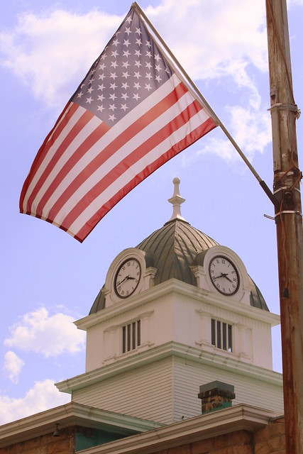 Fentress County Courthouse Clock Tower and Flag - Jamestown, TN