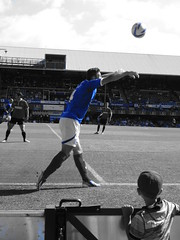 Watching his hero (Shutter Chimp: Im back!) Tags: park blue england field ball football jump stadium soccer crowd run save player portsmouth match footy fratton charlton pompey