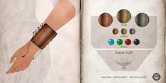NEW! Lark - Alena Cuff (() Sienia) Tags: life texture leather fashion metal etching mesh steel jewelry sl rack copper second change accessories brass engraved lark petina sienia trevellion slocca