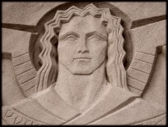 National Shrine of the Little Flower: Sculptural Relief, The Angel Uriel (Tinted)--Royal Oak MI (pinehurst19475) Tags: art church angel michigan tint catholicchurch artdeco deco tinted royaloak romancatholic headandshoulders uriel woodwardavenue shrineofthelittleflower sculpturalrelief nationalshrineofthelittleflower woodwardavenuechurch fathercoughlin radiopriest fathercharlescoughlin woodwardavenueattwelvemileroad