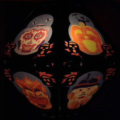 Creeps (in the dark) (bindlegrim) Tags: halloween night blackcat dark pumpkin artist glow witch clown scarecrow style shade frame devil characters lantern vellum creeps vitnage charactrers limitededtiion bindlegrim