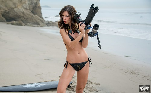 Pretty Brunette Swimsuit Bikini Model shooting Stills (Nikon D800) & Video (Sony NEX-6 F/1.8 50mm Prime)