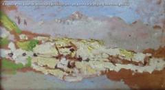 Eugenio Prati Lago di montagna bozzetto olio su tavola 9 x 19 cm Collezione privata
