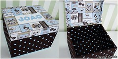 Caixa MDF revestida com tecido e aplicação (loja segredo da arte) Tags: azul caixa coruja bola patchwork menino mdf tecido poá cartonagem