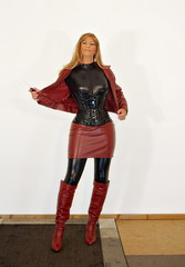 LCL - Latex, Corset and Leather (Gabriela Winter) Tags: red black leather shiny boots latex corset miniskirt overknee catsuit