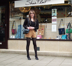 Shopping in shorts (Starrynowhere) Tags: black public outdoors glasses emma tights crossdressing tgirl tranny transvestite heels opaque pantyhose crossdresser nylons ballantyne transvestism starrynowhere