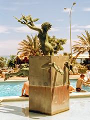 Fantastic sculpture, Spain (Gsta Knochenhauer) Tags: 1988 spain nude girl girls statue bath pool swimming art sculpture espaa woman women analog bronze pentax slr pappas24003 pappa pappas24003nik nik meli costa del sol hotel torremolinos