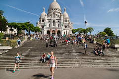 Paris June 2015 (3) 633 - The Sacre Coeur Basilica (Mark Schofield @ JB Schofield) Tags: street city people horse paris france tower church statue seine skyline architecture bronze buildings french basilica religion steps eiffel coeur sacre tourists cupola dome shops crowds equine basilique vendors traders