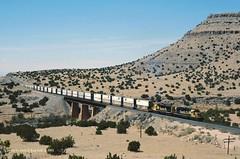 ATSF 5096-5435, bridge 3, Abo Canyon, NM. 4-14-2001 (jackdk) Tags: railroad bridge santafe train railway canyon locomotive abo sd45 emd sd402 atsf sd40 stacktrain trailertrain standardcab emdsd40 abocanyon emdsd45