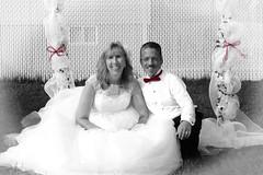 Bride and Groom 2 (DiamondBonz) Tags: wedding white black color groom bride outdoor gown selective