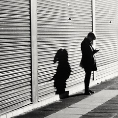 she's always been a dark horse (Brett T) Tags: shadow woman lines square mobile cell phone