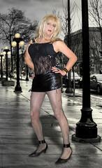 Streetwise :-) (Irene Nyman) Tags: irenenyman irene nyman dutch crossdresser tgirl transvestite blueeyes hooker fishnets leather micro skirt corset