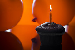 "Macro Mondays: ""Happy 10 Years!"" (BribbroPhoto) Tags: macromondays hmm macro canoneos5dmarkiii canonef100mmf28lmacroisusm candles candeline balloons palloncini muffin festa party arancione orange colors colori"