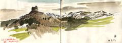 170318 Massif du Sancy (Vincent Desplanche) Tags: sketch sketchbook urbansketchers seawhiteofbrighton carandache neocolor auvergne croquis watercolor aquarelle mountain montagne volcans puydedôme sancy murols