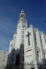 Église Saint-Jean-Bosco @ Paris (*_*) Tags: europe city winter 2017 march saturday morning paris france paris20 75020 églisesaintjeanboscodeparis church catholic donbosco artdeco white