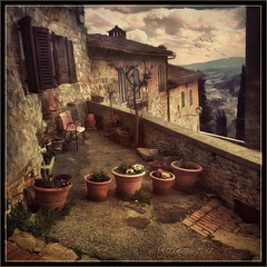 The old parts of the San Gimignano. (odinvadim) Tags: mytravelgram paintfx textured textures iphone editmaster travel iphoneography sunset evening iphoneonly church painterly artist snapseed landscape photofx specialist iphoneart graphic painterlymobileart