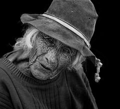 Portrait (clabudak) Tags: blackwhite portrait old seniorcitizen gramma hat wrinkled aged female woman