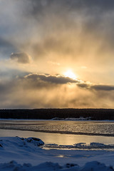 Sunset on the Gander River (Tk_White) Tags: nikon d750 70300mm sunset winter gander river clouds sun snow newfoundland
