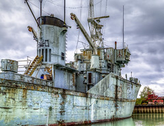Remembering better days... (Paul Rioux) Tags: marine hmcs cowichan retired mothballed royal canadian navy canada forces minesweeper boat ship vessel old vintage historic rusting rust decay decayed decaying deteriorating calm water reflection coopers cove britishcolumbia bc vancouverisland sooke 162 decommissioned prioux