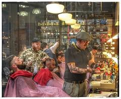 Hot Shave, Sir ? (FotoFling Scotland) Tags: men hairdressers manchester barber