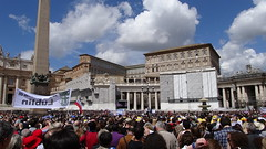 My view of the Pope from St Peter's Square in Vatican City (Hazboy) Tags: city italien vacation italy pope vatican rome roma st square francis san europa europe italia sunday vaticano holy april papa piazza rom francesco itali pietro cite angelus papal  2013 litalie hazboy hazboy1 hazboyeuro