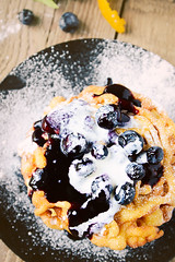 Funnel Cakes (Claire Sutton) Tags: food orange cooking cakes dessert sweet blueberry syrup funnel funnelcakes batter