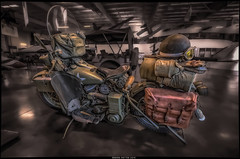 MP Harley (Explore) (Konaflyer) Tags: art museum army us nikon antique aviation military helmet goggles police motorcycle mp grenade hdr saddlebag nightstick d7000 markpatton