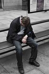 Snoooooze (Chapmanc123) Tags: life street uk portrait england urban white black bus gardens standing 35mm bench lens manchester real photography prime mono photo sitting candid piccadilly x stop e1 fujinon manc xf strflyer