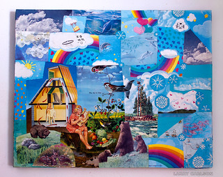 LARRY CARLSON, California Dream - The Sky is Blue,  collage and paint  on wooden board, 34x24in, 2011.