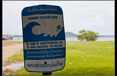Tsunami (Dune_UK) Tags: sea beach water sign warning thailand photo big dangerous asia photographer post image south large wave east tsunami photograph wife latex safe lanta kho glynne pritchard
