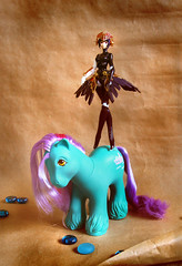 'Poise' (Sparkey Davis) Tags: art vintage toy toys persona japanese ballerina brother pony salty g1 balance tug 1980s figures metis mlp mylittlepony clydesdale figma