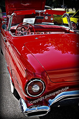 1957 Thunderbird Convertible in Red (Photographybyjw) Tags: auto show original red classic colors beauty car vintage reflections found interesting top north convertible chrome carolina 1957 restored thunderbird rag beautifully photographybyjw