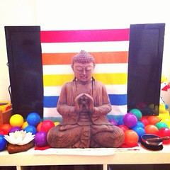 Paula, Brett, and Oliver's new shrine  Hi All, we are joining the retreat from Newcastle Australia. As part of the retreat and practice in mindfulness we have decided to forego watching television and instead have created a family shrine in the lounge roo
