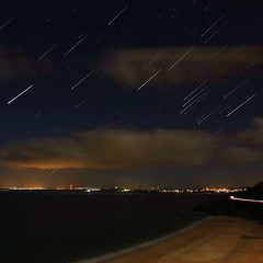St Ives Bay, Cornwall Star Trail 12th November 2013 (timcornbill) Tags: sea star coast cornwall astro astrophotography stives kernow stivesbay startrail uploaded:by=flickrmobile flickriosapp:filter=nofilter
