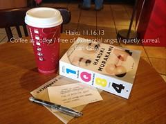 Starbucks, Murakami, and a Haiku on Saturday afternoon (Earl - What I Saw 2.0) Tags: coffee haiku starbucks murakami