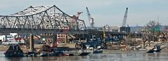 Bridge Construction (Joe Schneid) Tags: kentucky louisville ohioriver bridgeconstruction walshconstruction
