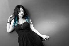 Cyan (Day Vid Z / ASCENSION Photography) Tags: portrait woman ontario canada girl rock wall female dark hair studio model punk artist dress emo goth makeup professional scared thunderbay