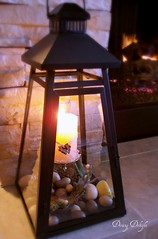 Hearth Lantern (dining delight) Tags: bunny birdcage fireplace ivy lantern candlesticks minilights heisrisen boxwoodwreath blackroundmirror |springmantel