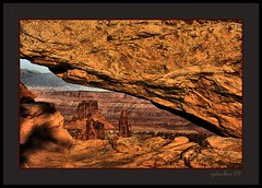 Mesa Arch Detail (the Gallopping Geezer 3.3 million + views....) Tags: park red brown nature canon landscape utah nationalpark arch formation canyonlands moab redrock 2009 mesa geezer corel mesaarch