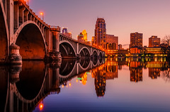 Minneapolis MN (Riddhish Chakraborty) Tags: sunset river mississippi landscape twilight cityscape skylines nightview mn stanthony 3rdavebridge top20bridges oldcental