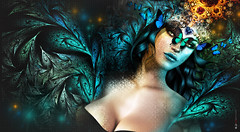 Delicate as a erly... (AyE  g  T  OFF) Tags: blue portrait green art portraits butterfly artwork fineart creative butterflies fantasy masquerade artworks fantasyart farfalle artportraits slportraits