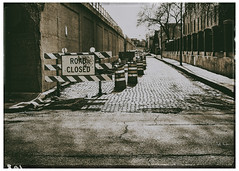 Bloomingdale Trail Construction (swanksalot) Tags: road blackandwhite bw 35mm construction alley closed toned 606 bloomingdaletrail