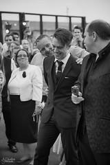 Photograph 003 - Daniel Listening To His Wife's Speech (B&W) (AJ Charlton Photography) Tags: park uk roof wedding bw white black london dan cake aj photography dance nikon married daniel july 18th reception d750 kia dalston ajc charlton