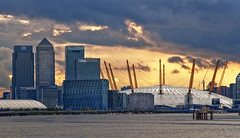 Sunset Over the O2 (Follow That Dream Photography) Tags: sunset canarywharf riverthames darkclouds warmglow o2arena